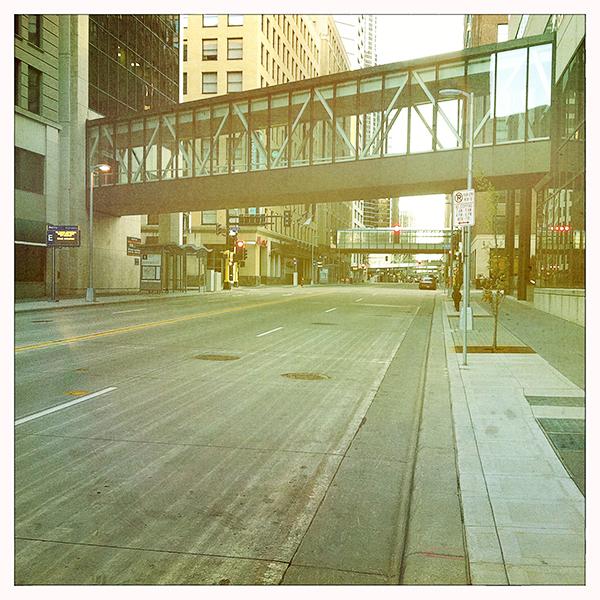 Alle grote gebouwen in Downtown Minneapolis zijn met elkaar verbonden via skywalks.